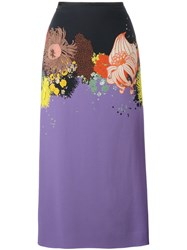 Dries Van Noten Selma Long Floral Print Skirt Pink Purple