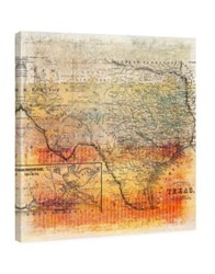 Marmont Hill Texas Map Painting Print On Wrapped Canvas Orange
