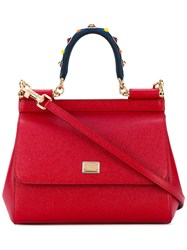 Dolce And Gabbana Siciliy Mini Tote Women Calf Leather One Size Red
