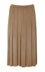 Tomas Maier Pleated Knit Knee Length Skirt Brown