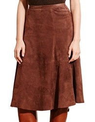 Lauren Ralph Lauren Suede A Line Skirt Brown