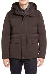 Men's Michael Kors Water Resistant Quilted Parka Chocolate