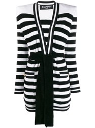 Balmain Knitted Striped Cardigan Black