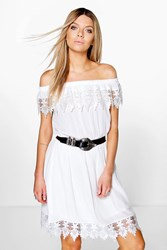 Boohoo Lace Trim Skater Dress White