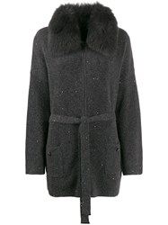 Max And Moi Fur Collar Cardigan Grey