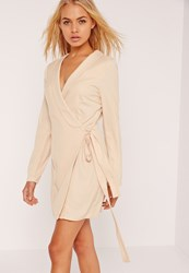 Missguided Tie Side Shift Dress Nude