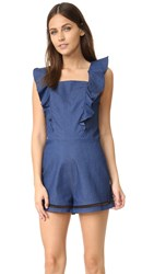 English Factory Ruffle Denim Rompers Dark Denim