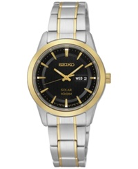 Seiko Women's Solar Two Tone Stainless Steel Bracelet Watch 29Mm Sut166