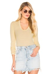 Enza Costa Rib Fitted U Neck Top Yellow