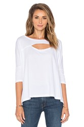 Bobi Lightweight Jersey Cut Out Dolman Tee White