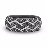 Lmj American Muscle Band Ring Black Silver