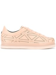 Emporio Armani Punch Hole Detail Sneakers Women Calf Leather Leather Rubber 36 Nude Neutrals