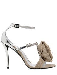 Roger Vivier 100Mm Rose N Roll Linen Sandals