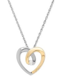 Macy's Diamond Accent Heart Pendant Necklace In Sterling Silver And 14K Gold Two Tone