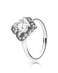 Pandora Design Ring Sterling Silver And Cubic Zirconia Floral Fancy