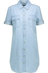 Equipment Slim Signature Cotton Chambray Shirt Dress Light Denim