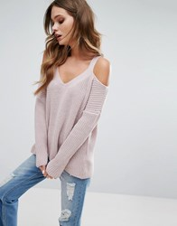 New Look Knitted Cold Shoulder Jumper Pink