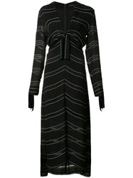Proenza Schouler Knot Detail Pinstripe Dress Black