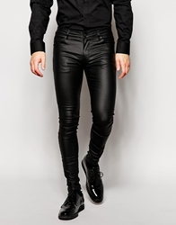 Asos Extreme Super Skinny Jeans In Leather Look Black