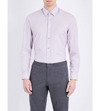 Hugo Boss Polka Dot Cotton Shirt Dark Purple