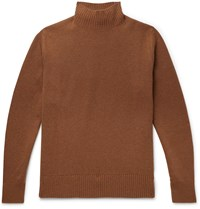 Thom Sweeney Wool And Cashmere Blend Mock Neck Sweater Brown