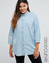 Asos Curve Destroyed Denim Shirt With Day Dreamer Embroidery Light Wash Blue