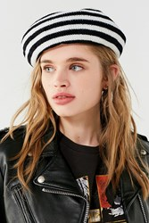Urban Outfitters Striped Chenille Beret Black White