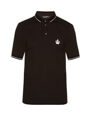 Dolce And Gabbana Crown Embroidered Polo Shirt Black
