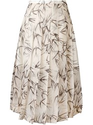 Rochas Swallow Print Pleated Skirt Nude And Neutrals