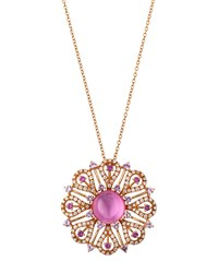 Roberto Coin 18K Pink Sapphire Quartz And Diamond Flower Pendant Necklace