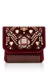 Elie Saab Mini Cross Over Bag Burgundy