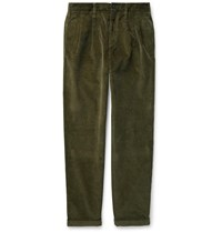 J.Crew Wallace And Barnes Pleated Cotton Corduroy Trousers Green