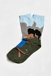 Urban Outfitters River Scene Sock Blue