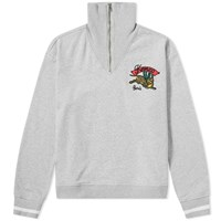 Kenzo Embroidered Tiger Half Zip Sweat Grey