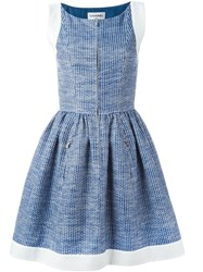 Chanel Vintage Pleated A Line Dress Blue