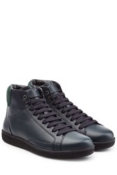 Brioni Leather High Top Sneakers Grey
