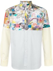 Comme Des Garcons Shirt Printed Contrast Shirt Multicolour