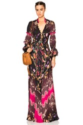 Etro Printed Gown In Black Floral Purple