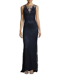 Catherine Deane Sleeveless Lace Column Gown Midnight Navy