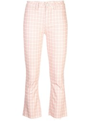 Paige Mini Flare Checked Trousers Pink