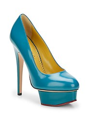 Charlotte Olympia Dolly Leather Platform Pumps Teal
