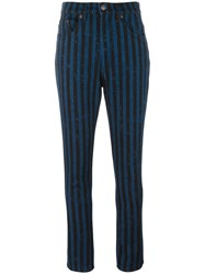 Marc Jacobs Stripe Flood Stovepipe Jeans Blue