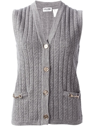 Celine Vintage Ribbed Knit Gilet Grey