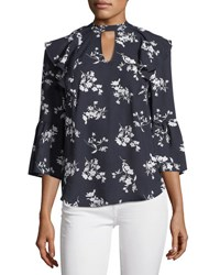 Collective Concepts Floral Print Ruffle Keyhole Blouse Navy