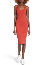 Leith Women's Cutout Strap Body Con Dress Red Persimmon