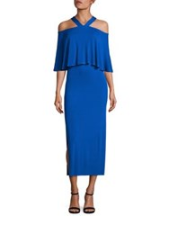 Yigal Azrouel Cold Shoulder Matte Jersey Long Dress Baja Blue