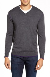 Bugatchi V Neck Merino Wool Sweater Charcoal