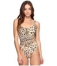 Norma Kamali Super Low Back Mio Caramel Leopard Women's Swimsuits One Piece Animal Print