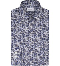 Duchamp Floral Striped Tailored Fit Cotton Shirt Blue