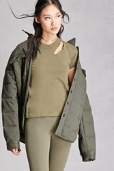 Forever 21 Vintage Ripped Neck Solid Tee Olive